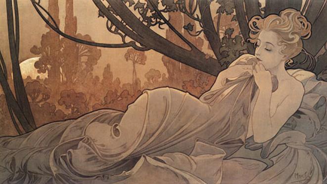 La Primevere et La Plume, 1899 Alphonse Mucha Detail