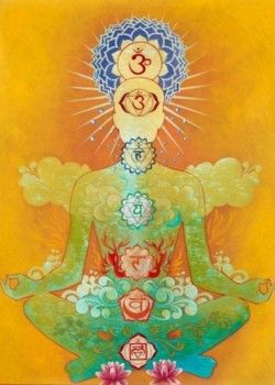 A person sitting in meditation with the chakras illuminated, representing the flow of prana - the essence of vata dosha.