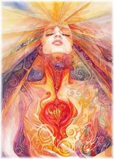 Spiritual awakening of a woman with an open heart and illuminated third eye, representing the subtle essence of pitta: tejas.