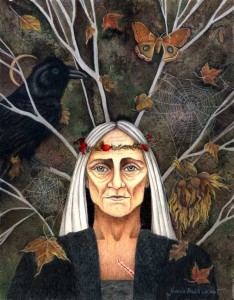 Crone elder woman with a crow, moth, spider web, falling leaves, a crescent moon and bare tree representing the vata dosha time of life.