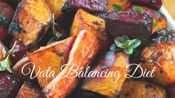 Roasted root vegetables for a vata balancing diet.